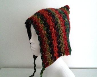 Crochet Rainbow Pixie Hat