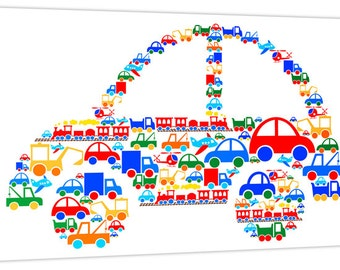 Car of Vehicles, Digger, Train, Truck, Car, Aeroplane & Helicopter - Boys Canvas Art Print Picture - Ready to Hang - by Rubybloom Designs