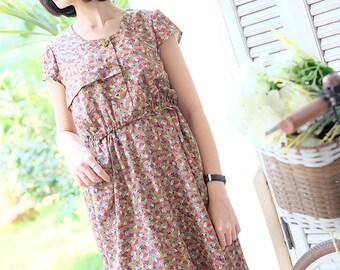Vintage Dress / 1980s Dress / Leaf Print Dress / Casual Dress / Brown Dress