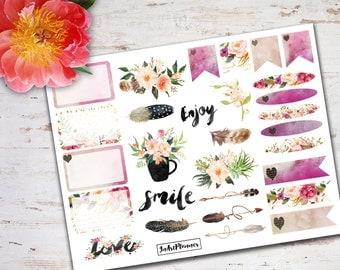 Decorative stickers, Erin Condren vertical, floral sticker, flower sticker, feather sticker, shabby chic sticker, life planner sticker 2m01