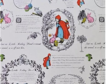 108cm x 58cm rare to find! Little Red Riding Hood Fabric Panel Cotton White