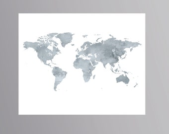 United states map Large Navy blue Watercolor map USA map print