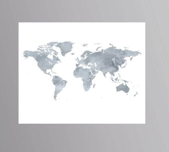 Printable grey world map watercolor wanderlust poster download printable grey world map watercolor wanderlust poster download map artwork world map digital colorful world map world travel map globe gumiabroncs Images