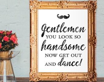 Wedding Gentlemens Bathroom Sign - 8x10 Printable