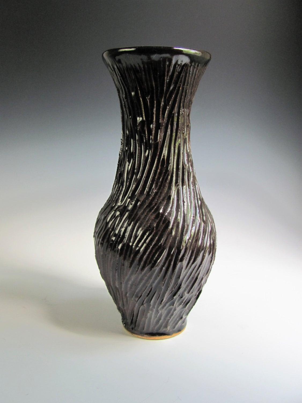 Black Flower Vase Tall Flower Vase Tall Ceramic by JessStarkArt