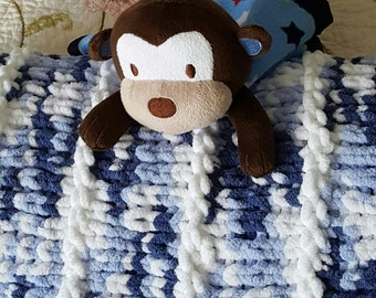 Hand Knit Baby Blanket in Blue, Baby Afghan, Chunky Knit, Very Soft, Crib Blanket, Baby Boy Blanket