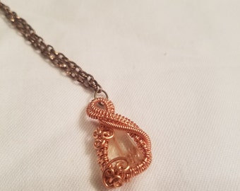 handmade wire wrapped citrine pendant necklace