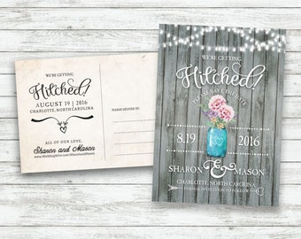 Rustic Wedding Save-The-Date Postcard, Vintage Wedding Invite, Save the Date Postcard, Mason Jar Wedding, String Light Wedding - Printable