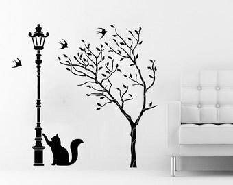 Tree Wall Decals Street Lamp Cat Kitten Decal Vinyl Sticker Baby Children Nursery Bedroom Room Home Decor Art Murals C504