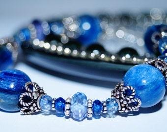 Kyanite, Blue Quartz and Sterling Silver Bracelet