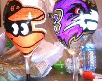 Custom hand painted wine glasses.