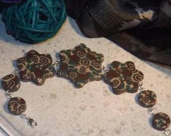 Bracelet polymer clay, green / beige / brown. Handmade