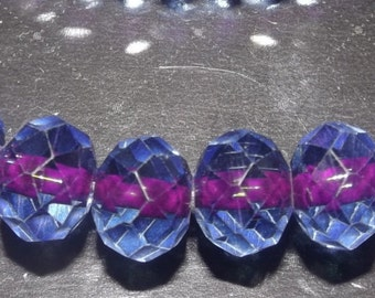10 round faceted Glass Beads, 2 tones, blue fuschia center, 8mm