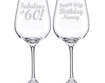 Birthday Gift Ideas, 60th Birthday Gift for Women, Gift for Men, Moms 60th, Dad's 60th, 60th Birthday Wine Glass, Personalized Birthday Gift
