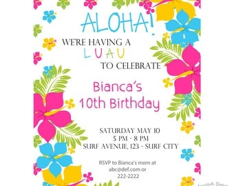 Luau Invitation | Printable Luau Birthday Invitation | Summer Party Invitation | Instant Download