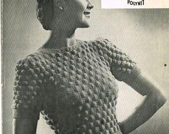 Vintage 1950's Ladies Jumper Knitting Pattern Long or Short Sleeve PDF Download.