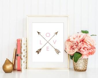 Love Arrows Printable Wall Art, Love Arrows Art, Love Nursery Art, Pink Girl Nursery Art, Arrows Printable Art, Boho Tribal Instant Download