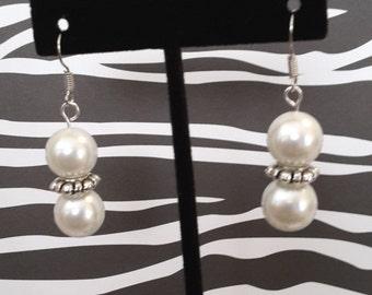 Double White Pearl Earrings