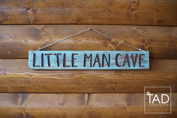 Rustic Man Cave Yuma : Rustic wood sign little man cave boy s room decor by
