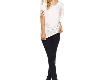 Fashionazzle Women's Open Shoulder Dolman Batwing Sleeve V Neck Rayon Tunic Top Ivory