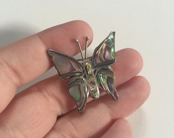 Vintage 925 Sterling Silver and Abalone Butterfly Brooch