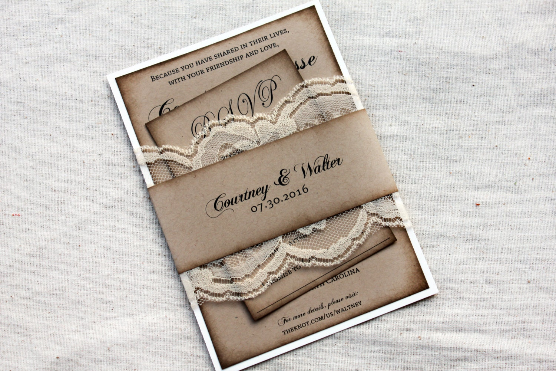 Ivory Wedding Invitation Kits: Ivory Lace Rustic Wedding Invitations Aged Wedding