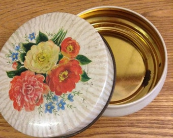 Vintage tin with roses & flowers