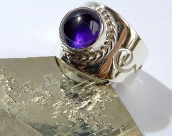 Natural Amethyst sterling silver ring,original hand crafted,universal size