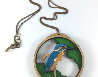 Free shipping - Kingfisher - Hand painted - Laser cut