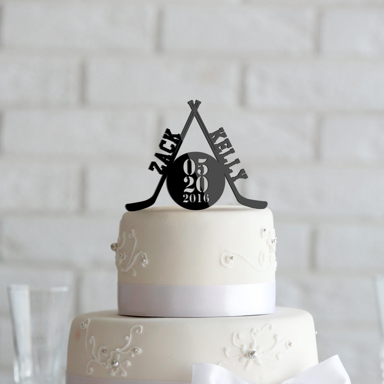 Hockey Theme Wedding Or Anniversary Cake Topper By