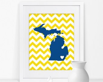 Ann Arbor Michigan State Map Art Print Michigan Sign Michigan State Grad Gift for Grad Map of Michigan Map Michigan Art Michigan State Print