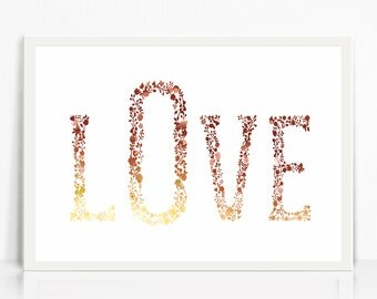 LOVE art Print, Watercolor Love Wall Art, Love For Her Gift, Elegant Love Print, Modern Love wall art, Digital Print Shop