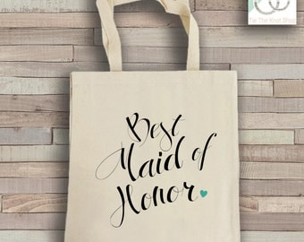 Maid of Honor Tote Bag - Natural Cotton Canvas Tote - Wedding Tote Bag - Maid of Honor Reusable Bag - Shoulder Bag - Canvas Bag