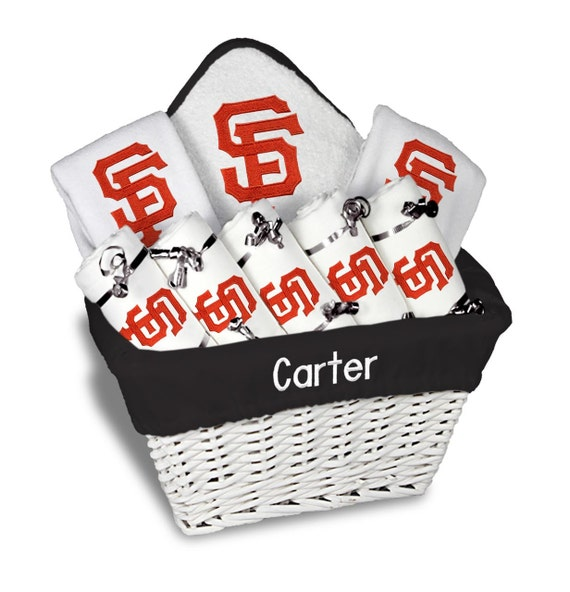 Baby Gift Baskets San Francisco : Personalized san francisco giants baby gift basket bibs