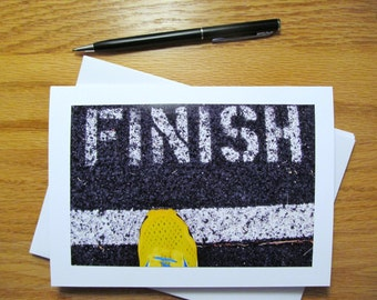 Set of 3, Running Inspired Blank Note Cards, Track Finish Line,  Athlete, Coach, Thank you, Congratulations, Encouragement--Free Shipping!