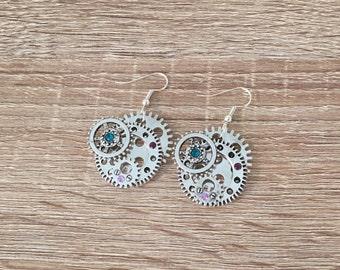 Cog & Gear Earrings, Steampunk Gift, Retro Jewelry, Dangle Clock Earrings, Vintage Charm, Victorian, Clockwork Watch Parts, Antique Silver