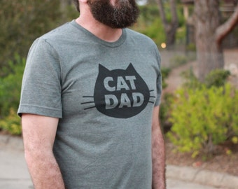 Cat T-Shirt Cat Dad, Unisex T-Shirt, Gray Heather Cat T-Shirt