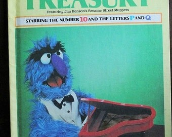Sesame Street Treasury Volume 10-Number 10 and the Letters P & Q-Jim Hensens Muppets-Grover-Vintage kids book-Learning book-Alphabet book