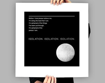 Joy Division - Art Print / Poster - Isolation - Ian Curtis - New Order - Manchester - Post-Punk - Minimal Art - Music Lyrics