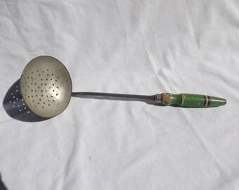 Green wooden handle ladle,vintage kitchen utensil, soup skimmer, shabby chic decor, kitchen utensil, farmhouse decor
