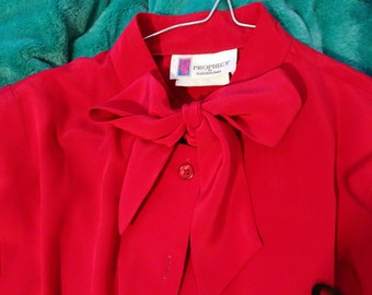 Vintage 1980s blouse with bow tie