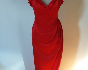 Red Moulin Rouge style glamorous dress.