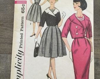 Vintage Junior and Misses' One Piece Dress with Two Skirts, Jacket and Detachable Collar Sewing Pattern, Simplicity 3790, Size 12, Bust 32