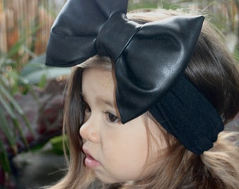 Faux Black Leather Bow, Pillow Bow Headband, Baby Headband, Leather Headband, Pleather Headband, Baby Girl Bow, Black Pillow Bow Headband