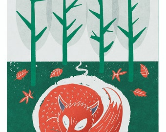 Fox Print Woodland Art, Nursery Art, Sleeping Fox Print