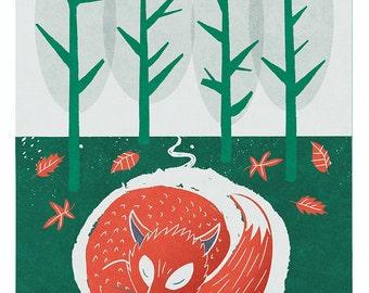 Fox Print Woodland Art, Nursery Art, Sleeping Fox Print