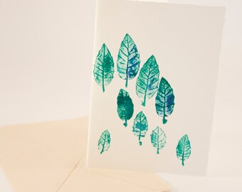 Card with printed Monotype. 11x15.5cm olive leaves (4.3x6. 1