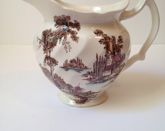 Vintage Johnson Brothers Old Mill Brown and White Pitcher/Jug