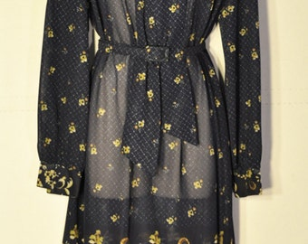 Womens Vintage Navy Sheer Dress