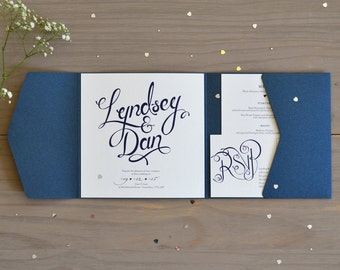 Wedding invitations etsy uk calligraphy wedding invitation navy pocket fold stopboris Choice Image